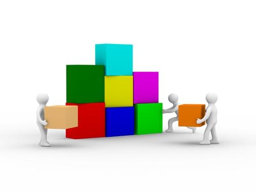 Teamwork concept illustration of a couple building blocks ... |Team Building Blocks Graphics